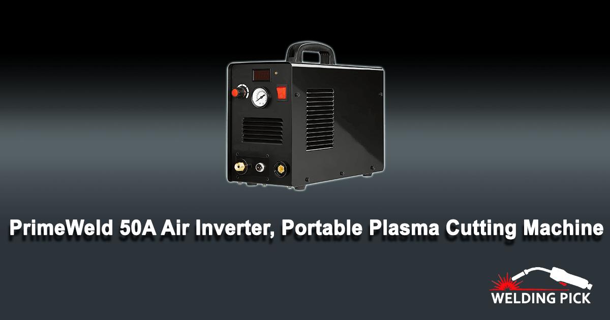 "PrimeWeld 50A Air Inverter Plasma Cutter, Portable Plasma Cutting Machine, Premium, and Rugged Plasma Cutter Kit, Automatic Dual Voltage 110V/220V AC with Plasma Torch, 1/2"" Clean Cut, CUT50D"