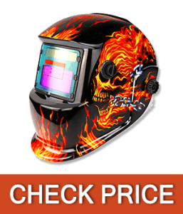 DEKOPRO Solar Powered Auto Darkening Flaming Skull Design Welding Helmet